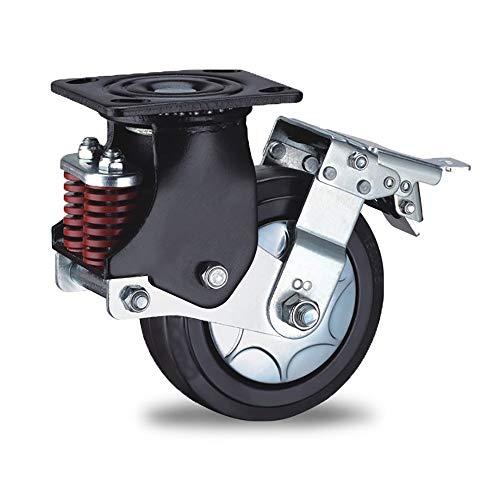 Universal Wheel Ruedas giratorias de 125 mm duraderas Ruedas industriales de servicio pesado 4 Paquete todo con freno Sin ruido Ruedas con llave for Furniture Trolley ( Color : Black , Size : 5in )