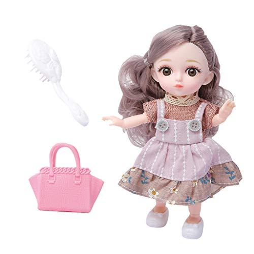 sharprepublic Flexible Puppe 12 Gelenke Minipuppe Kugelgelenkpuppe mit Kleidung, Schuhe, Haar Set - Lila, 16 cm.