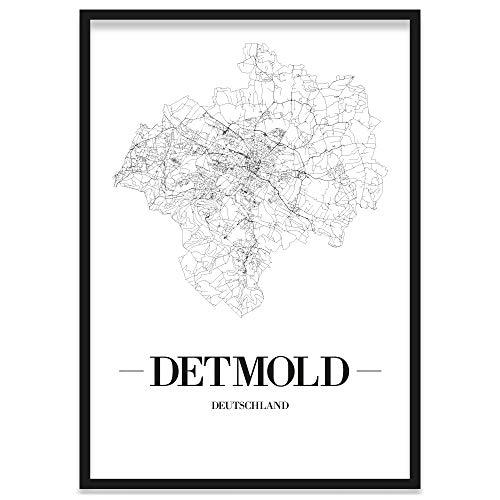 JUNIWORDS Stadtposter, Detmold, Wähle eine Größe, 30 x 40 cm, Poster mit Rahmen, Schrift A, Weiß