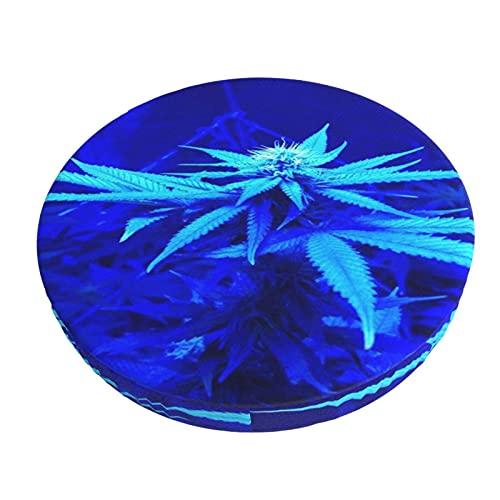 Cubiertas Azules del Cojín De La Barra del Diseño De La Hoja De La Hierba De La Marihuana, Cojín Redondo del Asiento De La Silla para El Hogar / El Hotel / El Partido