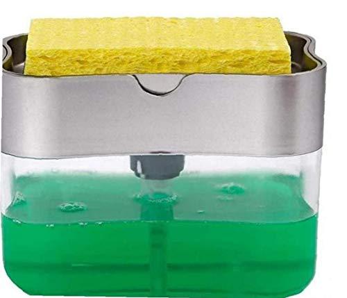 fedsjuihyg 2-in-1 Küche Scrubbing Flüssigwaschmittel Dispenser Press-Typ Flüssigkeit Box Spültechnik Soap Box Küche Zubehör Grau