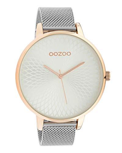 Oozoo Damenuhr mit Edelstahl Milanaiseband und Mandala Zifferblatt Silberfarben/Rose 48 MM C10551
