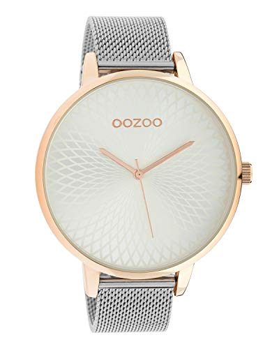Oozoo dameshorloge met roestvrij staal Milanese band en mandala wijzerplaat zilverkleurig/roze 48 MM C10551