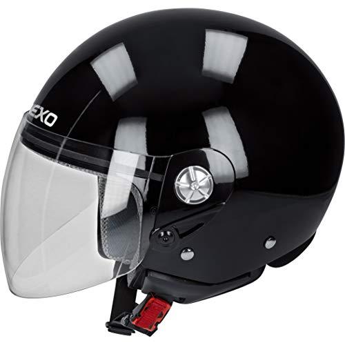 Nexo Jethelm Motorradhelm Helm Motorrad Mopedhelm Demi Jet Helm City schwarz M, Unisex, Chopper/Cruiser, Ganzjährig, Thermoplast
