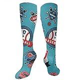 zhouyongz Calcetines de vestir coloridos con logotipo de béisbol para hombre, diseño multicolor, de moda, divertidos calcetines de algodón