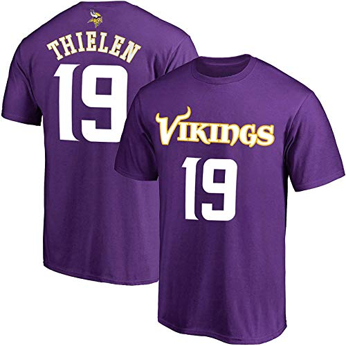 NFL Youth 8-20 Team Color Polyester Performance Mainliner Player Name and Number Jersey T-Shirt (Large 14/16, Adam Thielen Minnesota Vikings Purple)