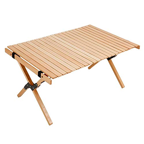 Mesa Plegable Mesa de jardín Mesa plegable de madera para exteriores Mesa compacta plegable con tapa enrollable para picnic, camping, playa, barbacoa, muebles para exteriores plegables,90*60*41