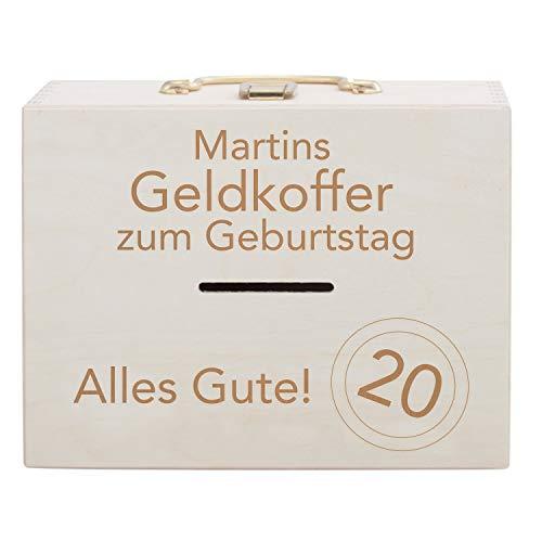 Geldkoffer voor verjaardag: spaarpot met naam en jaar gepersonaliseerd - spaarvarken in koffer vorm met sluiting van hout met spreuk gegraveerd - cadeau-idee voor verjaardag koffer groß naturel