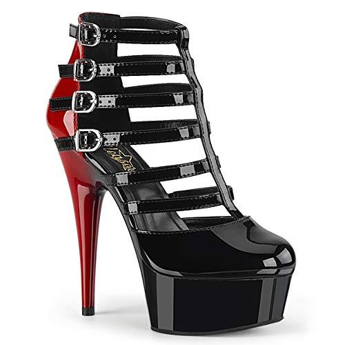 Lack Pumps Delight-695 - sexy High Heels von Pinup Couture 40 Schwarz/Rot