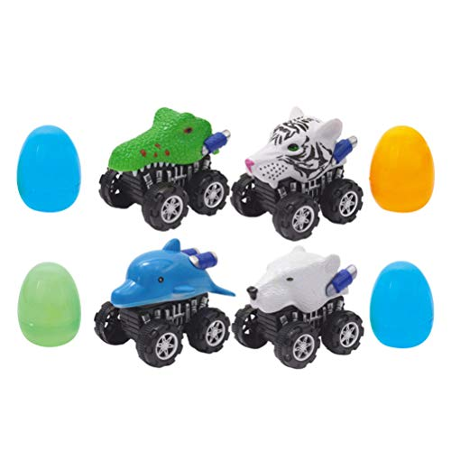TOYANDONA 4 Stücke Rückzug Auto und Ostereier Baby Spielzeugauto Set Ostern Dekoeier Kinder Rettungswagen Auto Spielzeug Lernspielzeug für Jungen Kindergeburtstag Mitgebsel