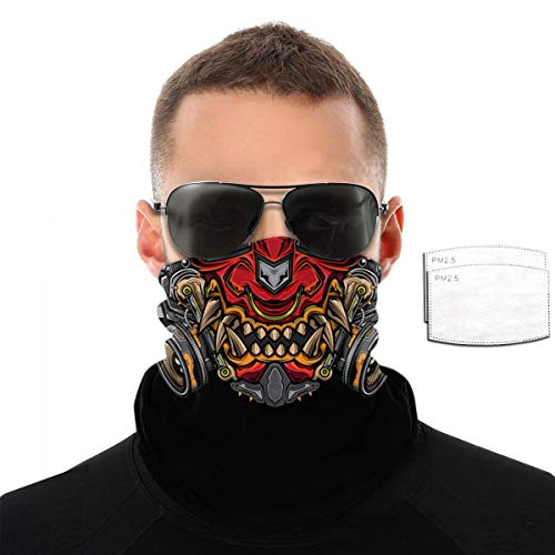 Japanese Hannya Oni Mask Halloween Face Mask Reusable Bandana Adjustable Face Cover Washable Breathable Scarf