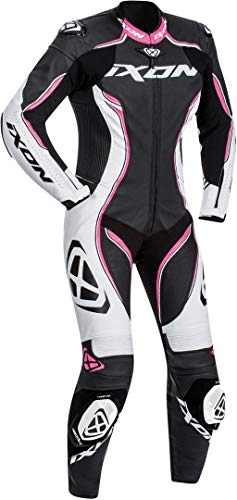Ixon Vortex Leren pak voor dames, 1-delig X-Large zwart/wit/roze