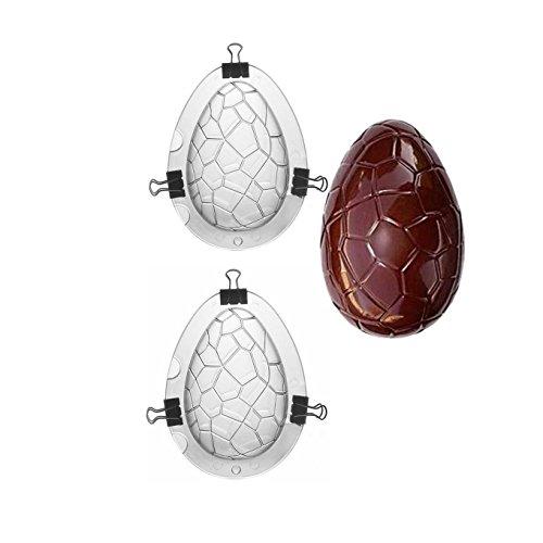 Jun 2pezzi uova di Pasqua Day stampi per cioccolatini trasparente con clip in metallo, 3D Large Dinosaur Egg Shape Chocolate Mold policarbonato stampi per decorazione pasquale