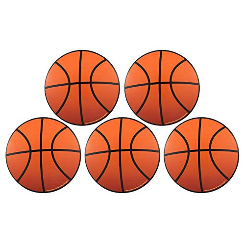Mini Basketball Magnets for Team and Coach, Magnetic Basketball Decal for Lockers, Car, Fridge, Pack of 5, 3 3/4 Inch