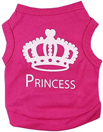 Alroman Dog Fuchsia Shirts Puppy Magenta Vest with Crown Pattern Princess Clothing for Pet Dogs product image