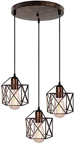 Lámpara de la vendimia 3 industrial metal hexagonal jaula del diseño geométrico...