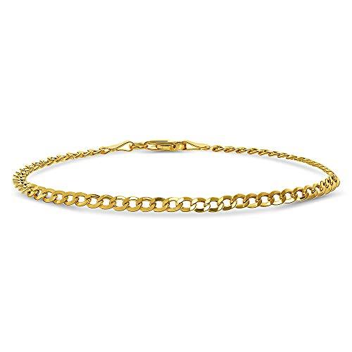Miore Armband Damen Panzerkette aus Gelbgold 9 Karat / 375 Gold, Armschmuck 19.5 cm lang