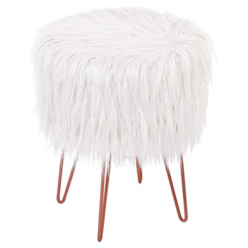 BirdRock Home White Faux Fur Vanity Stool Chair – Soft Furry Compact Padded Seat - Vanity, Living Room, Bedroom and Kids Room Chairs – Hair Pin Metal Legs Upholstered Decorative Furniture Foot Rest