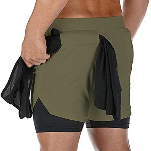 ZAYZ Secado Rápido para Hombres Pantalones Cortos de Entrenamiento Atlético por Gimnasio de Yoga Activo Pantalones Cortos Deportivos con Liner 2 En 1, Tacto Suave (Color : Green, Size : 4XL)
