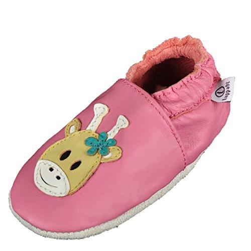 Lappade Giraffe rosa Lederpuschen Hausschuhe Krabbelschuhe Baby Schläppchen Lauflernschuhe Wildledersohle (Gr. 25/26 EU XXL, Art. 303)