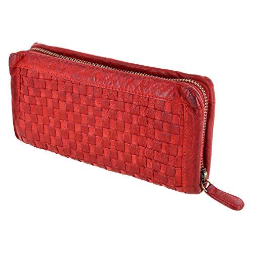 Damenbörse Brieftasche, Portemonnaie Mod. 5027 (20/10/ 3 cm), geflochten, gewaschenes Leder, rot