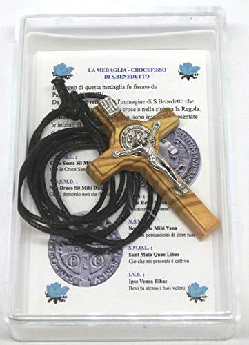GTBITALY 10.028.90 LACSCA Cruz San Benito de madera de olivo con collar de 4,5 cm con caja de regalo y oración en italiano