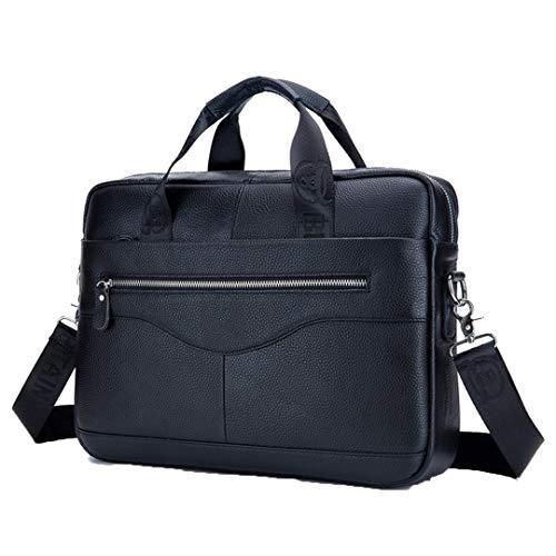 Pan&Bazstny Leather Men's Briefcase Vintage Business Computer Messenger Shoulder Bag Postman Handbags Black