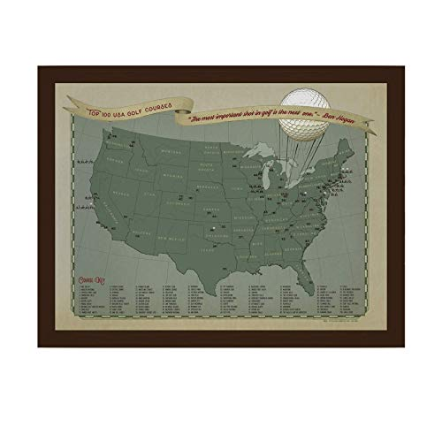 Top 100 Golf Courses USA Push Pin Travel Map   Golf Gift