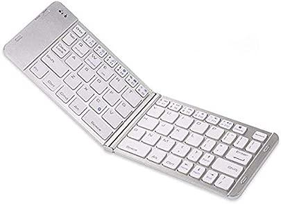 LOMQIT Universal Aluminium Bluetooth Tastatur Wireless Wiederaufladbar Kompatibel Apple iPhone XS Max Xs Xr X Plus Plus 6S Plus I8 Samsung Ipad Ios Android Silber