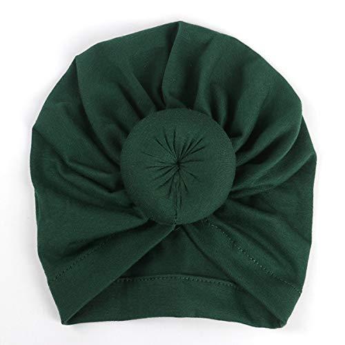 puseky Bébé filles inde chapeau coton cravate noeud bonnet casquette nouveau-né doux chaud serre-tête turban (Color : Deep Green, Size : 0-18M)