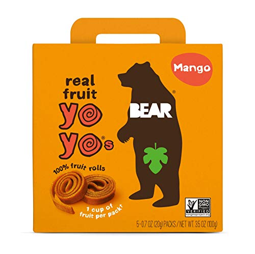 BEAR - Real Fruit Yoyos - Mango - 0.7 Ounce (5 Count) - No added Sugar, All Natural, non GMO, Gluten Free, Vegan - Healthy on-the-go snack for kids & adults