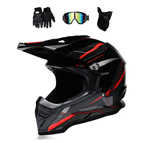 MRDEAR Casco de Motocross Negro Rojo, Casco Descenso con Gafas/Mascarilla/Guantes, Adulto Casco MTB Integral Enduro Moto Off-Road Racing Motocicleta Quad...