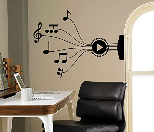 Wall Stickers Wall Decals Guitar Strings Music Notes Wall Stickers Vinyl Stickers Designed by Artists Home Interior Room Office Design 76X57Cm