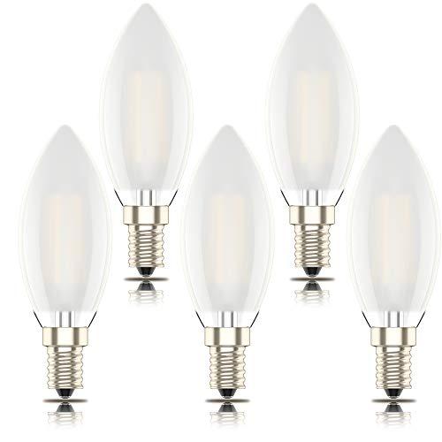 Phoenix-Lampadina LED E14 Luce Calda,Smerigliato guscio di vetro,Dimmerabile Filamento Candela,4W Equivalenti a 40W,Bianco Caldo 2700K,400lm