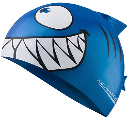 Aqua Speed SharkCuffia da Bagno | Bambini | Silicone | Nuoto | Flessibile | Squalo Squalo/Blu /01