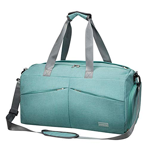HOKEMP Sports Gym Bag with Wet Pocket & Shoes Compartment Travel Weekender Duffel bag For Men and Women (Blue)