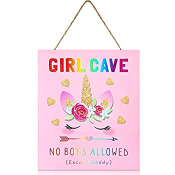 Unicorn Girl Cave Wooden Sign Kids Room Wall Sign Unicorn Hanging Sign No Boys Allowed Sign for Girls Baby Bedroom Door Signs Decor