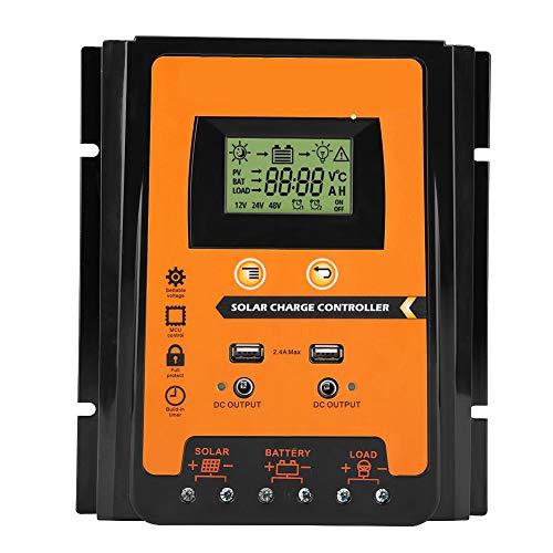 Controlador de carga solar, 12V 24V 30A 50A MPPT Controlador de carga solar Panel solar Regulador de batería Dual USB Pantalla LCD(70A)