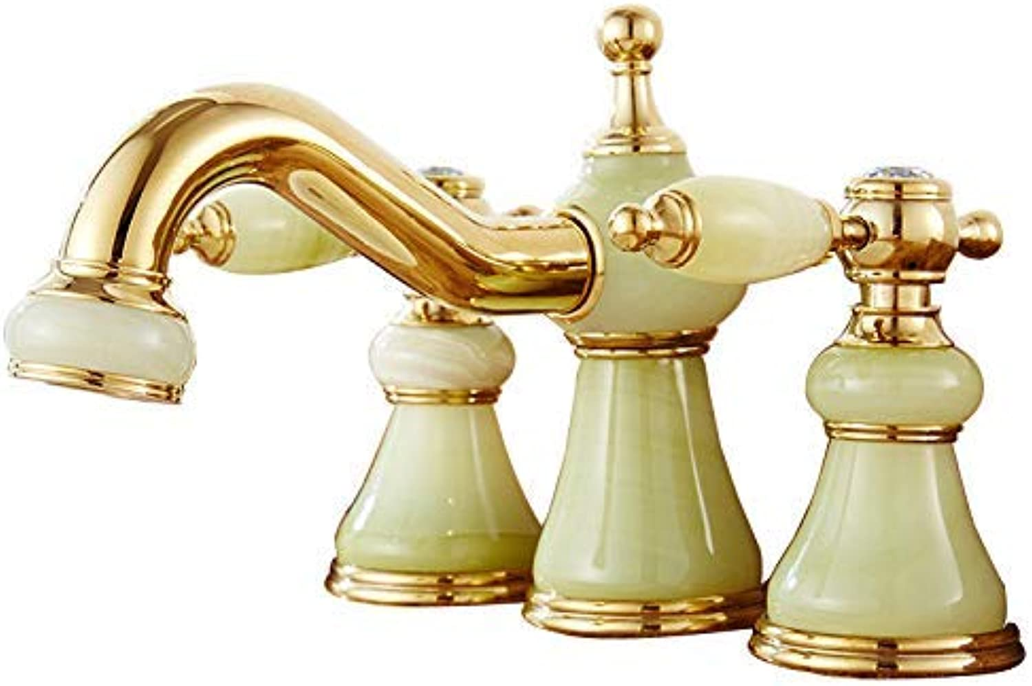 Oudan Taps Faucet Basin Mixer Jade Three Holes Hot And Cold Split Antique Marble Wash Basin Faucet D (color   -, Size   -)