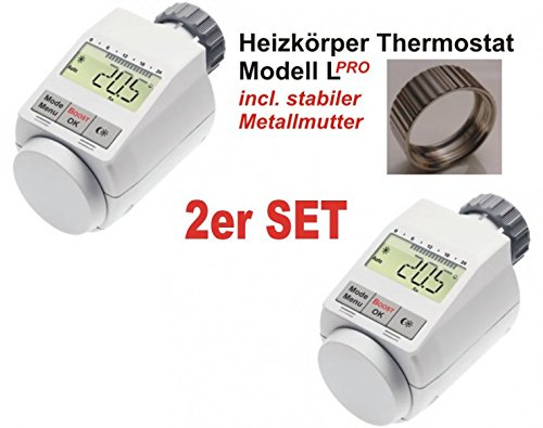 Komfort Heizkörperthermostat Model L 'PRO' mit Boost Funktion - 2er Set +++ incl. stabiler Metallmutter !!