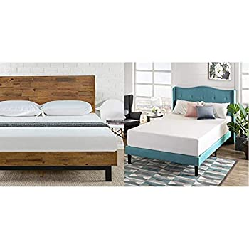 Zinus Tricia Platform Bed/Mattress Foundation/Box Spring Replacement/Brown King & 12 Inch Green Tea Memory Foam Mattress/CertiPUR-US Certified/Bed-in-a-Box/Pressure Relieving King
