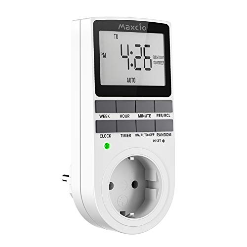 Temporizador Enchufe Digital Programable, Maxcio Programador Enchufe Semanal con Pantalla LCD Grande, Función de Horario de Verano y Aleatoria, Ahorrar Energía y Dinero, 16A / 3680W Máx. (1 Pack)