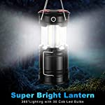 AKMONA Camping Lantern, 2 Pack with 8 Batteries High Lumens LED Lanterns Battery Powered, Suitable for Hurricane… 9 Super Bright & Large Area Brightness. 360-degree covered lighting with top spotlight provides high visibility to meet large area brightness. 4 lighting modes. Collapsible COB LED Lantern. Flashlight. Red Warning Light(Strobe & SOS light). The lantern is a vital filed survival tool and camping accessories. Long Last Run Time. Using 3*AA batteries (Included) as power supply enables it can be continuously used for a long time, which brings you to light for a long time to fulfill your needs. Energy-saving and suitable for camping, power outage, night fishing & hunting, emergency usage, hurricane and survival kit, etc. Novel Design, Metal Handle, And Magnet Base. Collapsible design (by pushing and pulling the handle) can turn on or close the lantern. A metal portable lantern can be used as a flashlight, vertical lift as a lantern, and can hangit on trees or others. 3 Strong magnets on the base can be adsorbed on any metal surface to free your hands.