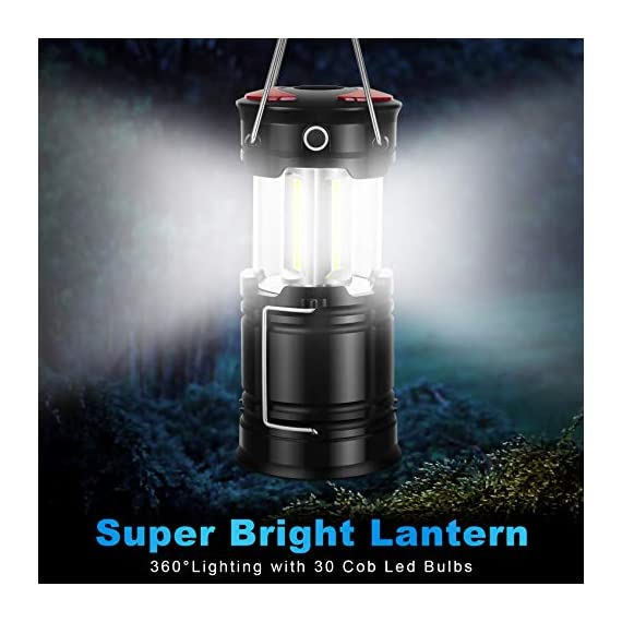 AKMONA Camping Lantern, 2 Pack with 8 Batteries High Lumens LED Lanterns Battery Powered, Suitable for Hurricane… 2 Super Bright & Large Area Brightness. 360-degree covered lighting with top spotlight provides high visibility to meet large area brightness. 4 lighting modes. Collapsible COB LED Lantern. Flashlight. Red Warning Light(Strobe & SOS light). The lantern is a vital filed survival tool and camping accessories. Long Last Run Time. Using 3*AA batteries (Included) as power supply enables it can be continuously used for a long time, which brings you to light for a long time to fulfill your needs. Energy-saving and suitable for camping, power outage, night fishing & hunting, emergency usage, hurricane and survival kit, etc. Novel Design, Metal Handle, And Magnet Base. Collapsible design (by pushing and pulling the handle) can turn on or close the lantern. A metal portable lantern can be used as a flashlight, vertical lift as a lantern, and can hangit on trees or others. 3 Strong magnets on the base can be adsorbed on any metal surface to free your hands.