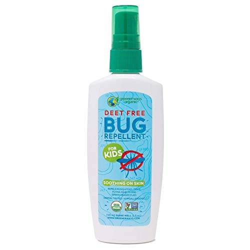 Greenerways Organic Bug Spray for Kids, Kid Friendly Natural Mosquito Repellent, USDA Organic, Non-GMO, Mosquito-Repellent, Bug Repellant, Clothing DEET-Free - 4Oz