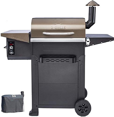 Z GRILLS Wood Pellet Grill & Smoker,8 in 1 BBQ Grill Outdoor Smoker with 600 sq in Cooking Area, Auto Temperature Control Pellet Smoker(ZPG-L6002B)-Bronze Smokers