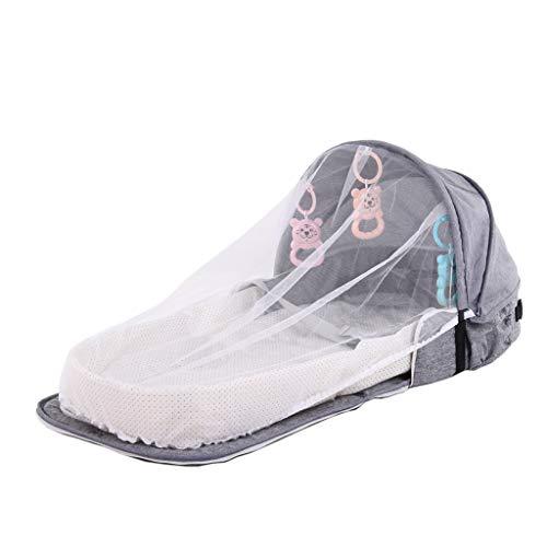ZOOMY Babybett Travel Sun Protection Moskitonetz Faltbarer Schlafkorb für Säuglinge - Grau