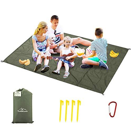 Likorlove Stranddecke Ultraleicht, Picknickdecke wasserdichte 140 x 200 cm Sandabweisend Strandmatte Leicht Faltbare tragbare Taschendecke Übergroße Outdoor Campingdecke mit 4 Pfosten und Tasche.