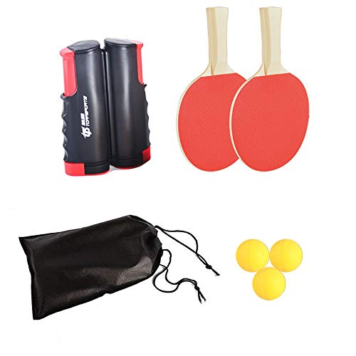 Great Price! Table Tennis Set Ping Pong Set with Retractable Table Tennis Nets 2 Bats and 3 Balls fo...