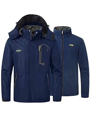 Wantdo Men's Winter 3 in 1 Ski Jacket Warm Short Parka Waterproof Coat Navy Medium